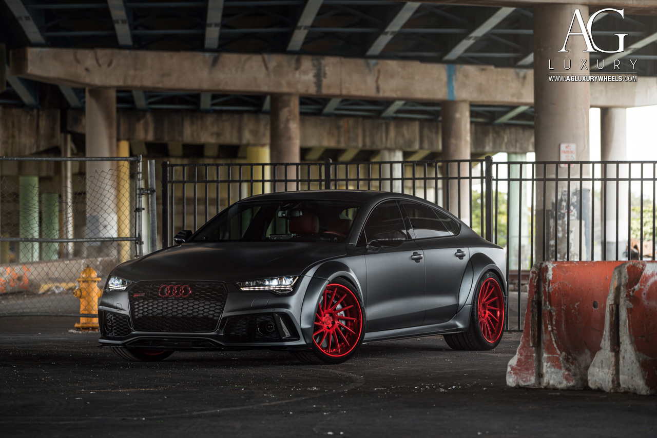 matte gray audi rs7 forged concave directional wheels candy red