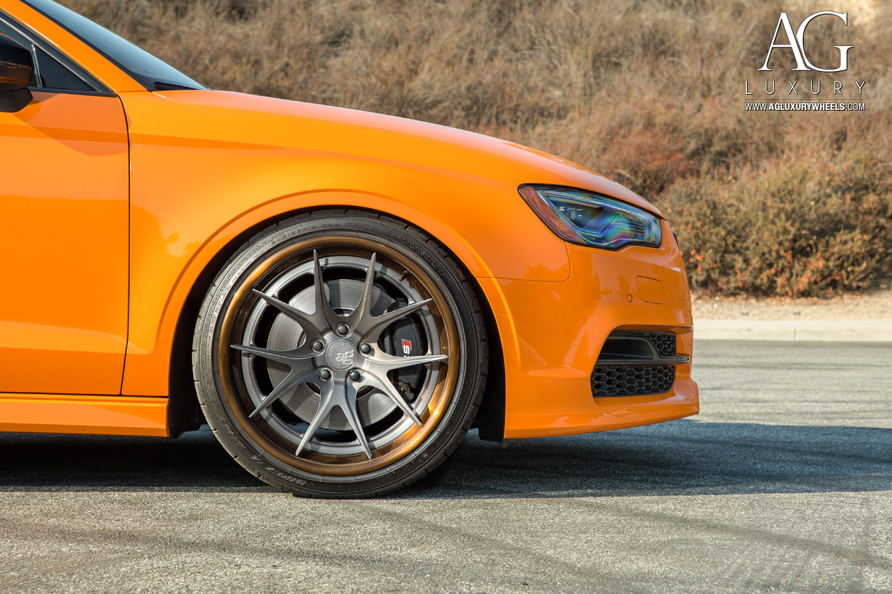 orange audi s3 forged concave step lip wheels