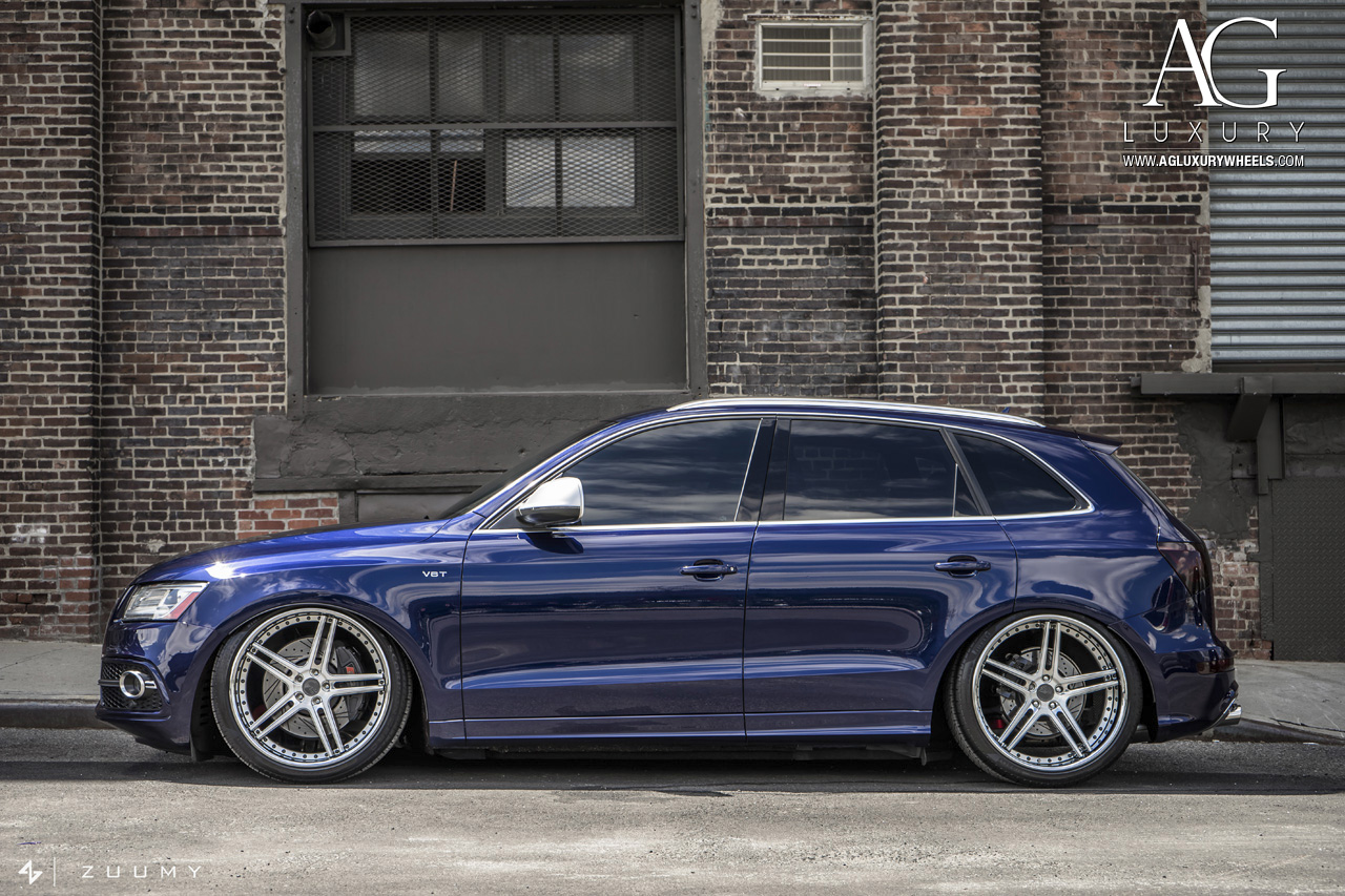 blue audi sq5 forged concave wheels brushed split five spoke air suspension