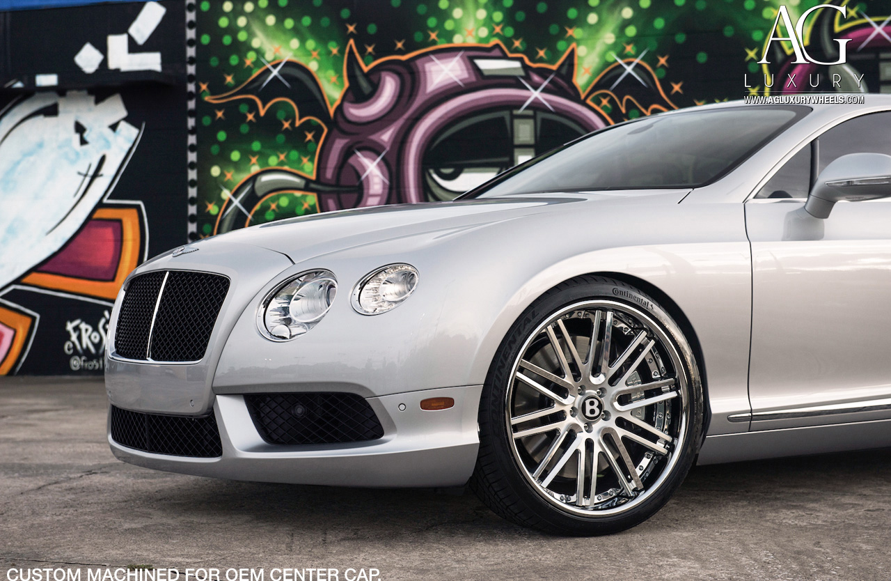 silver bentley continental gt forged concave staggered wheels brushed polished
