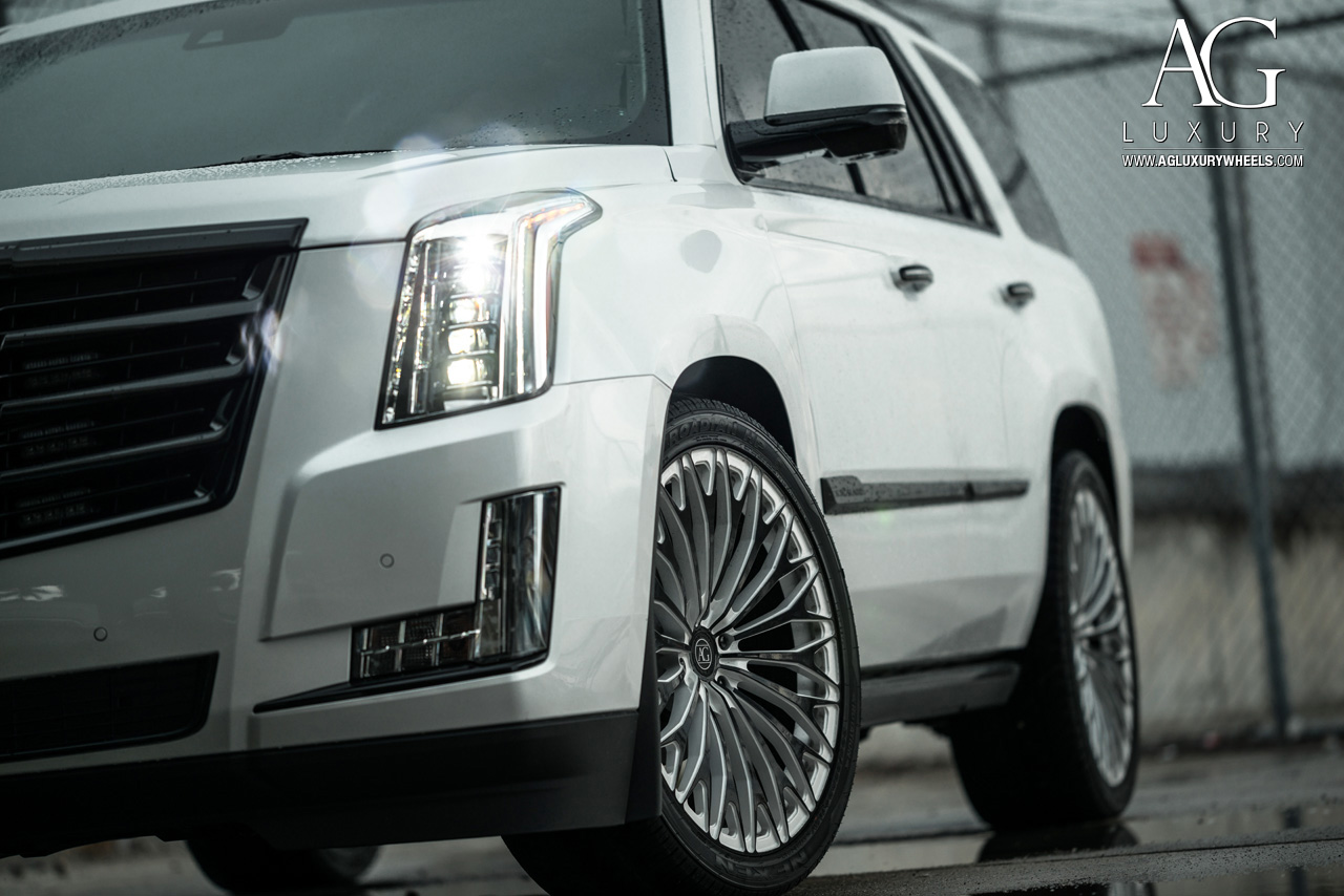 white cadillac escalade 24 inch forged concave wheels two tone monoblock