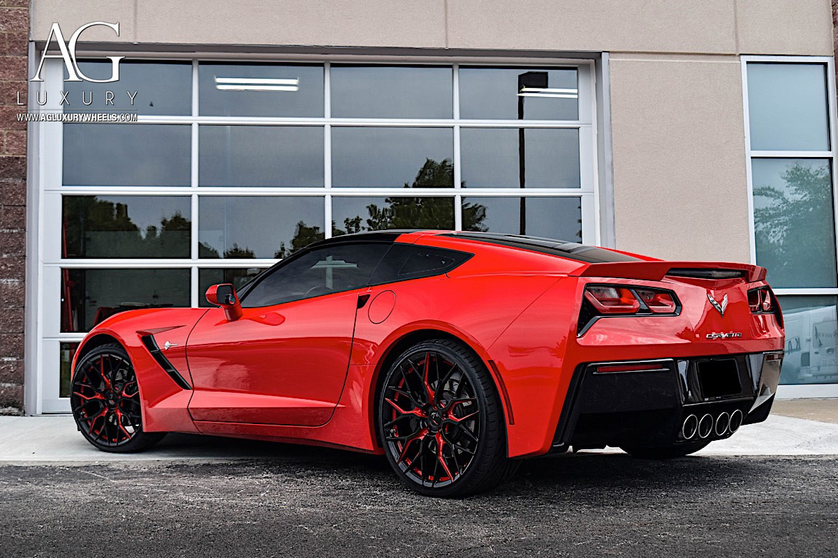 agluxury wheels ag luxury agwheels avant garde wheel chevrolet corvette forged wheels agl43 monoblock chevy two tone gloss black red custom concave mesh kctrends motorsports