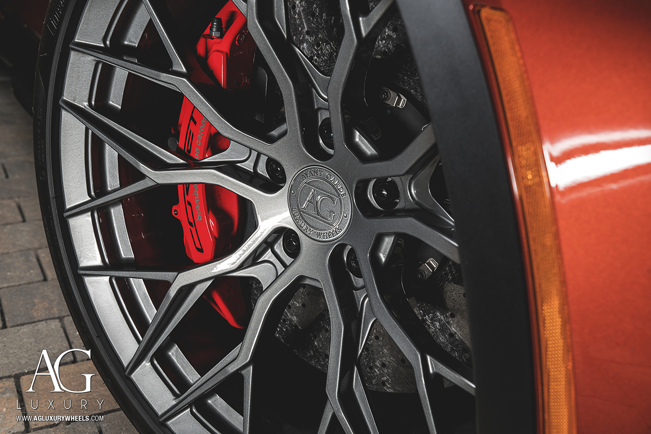 orange chevy chevrolet corvette z06 grand sport avant garde agwheels wheels wheel rim agluxury luxury agl43 monoblock split ten spoke 20inch 21inch staggered gloss anthracite