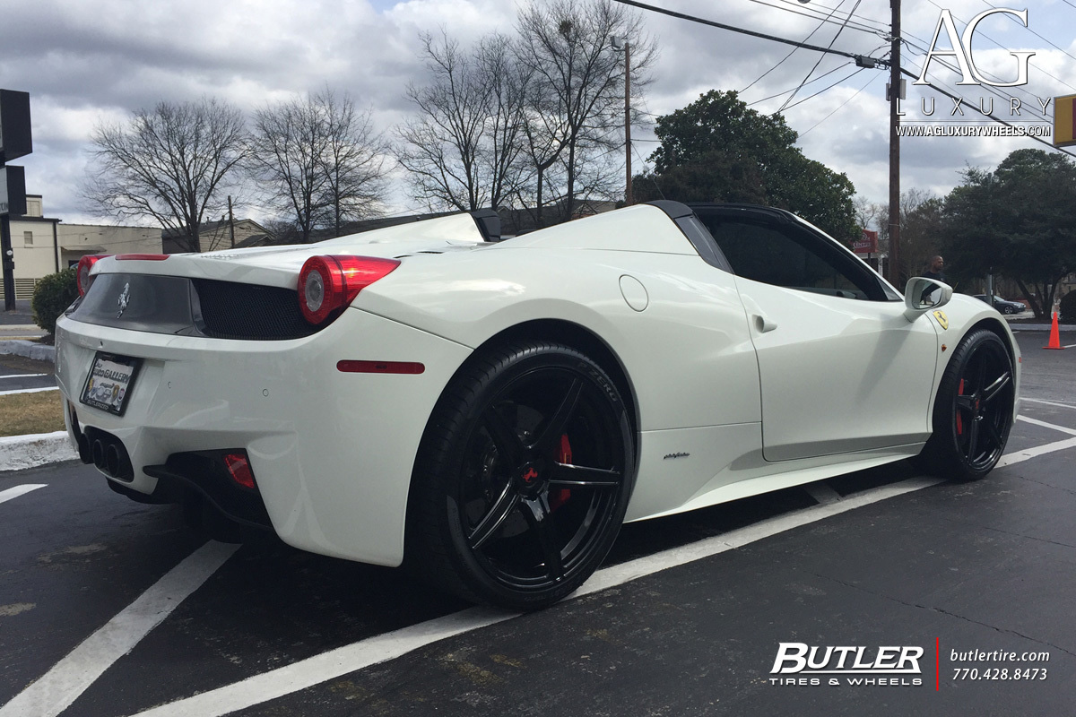 white ferrari 458 italia forged monoblock concave staggered wheels