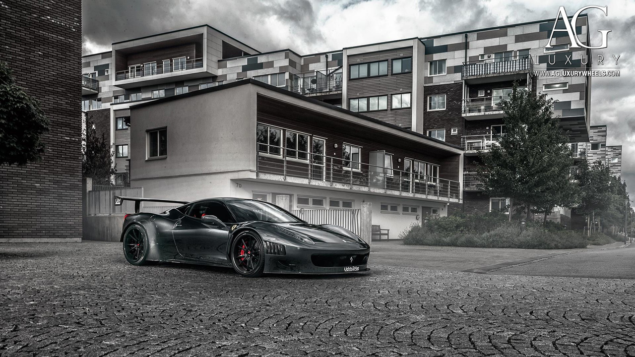 gray ferrari 458 italia forged concave staggered track wheels carbon fiber lip