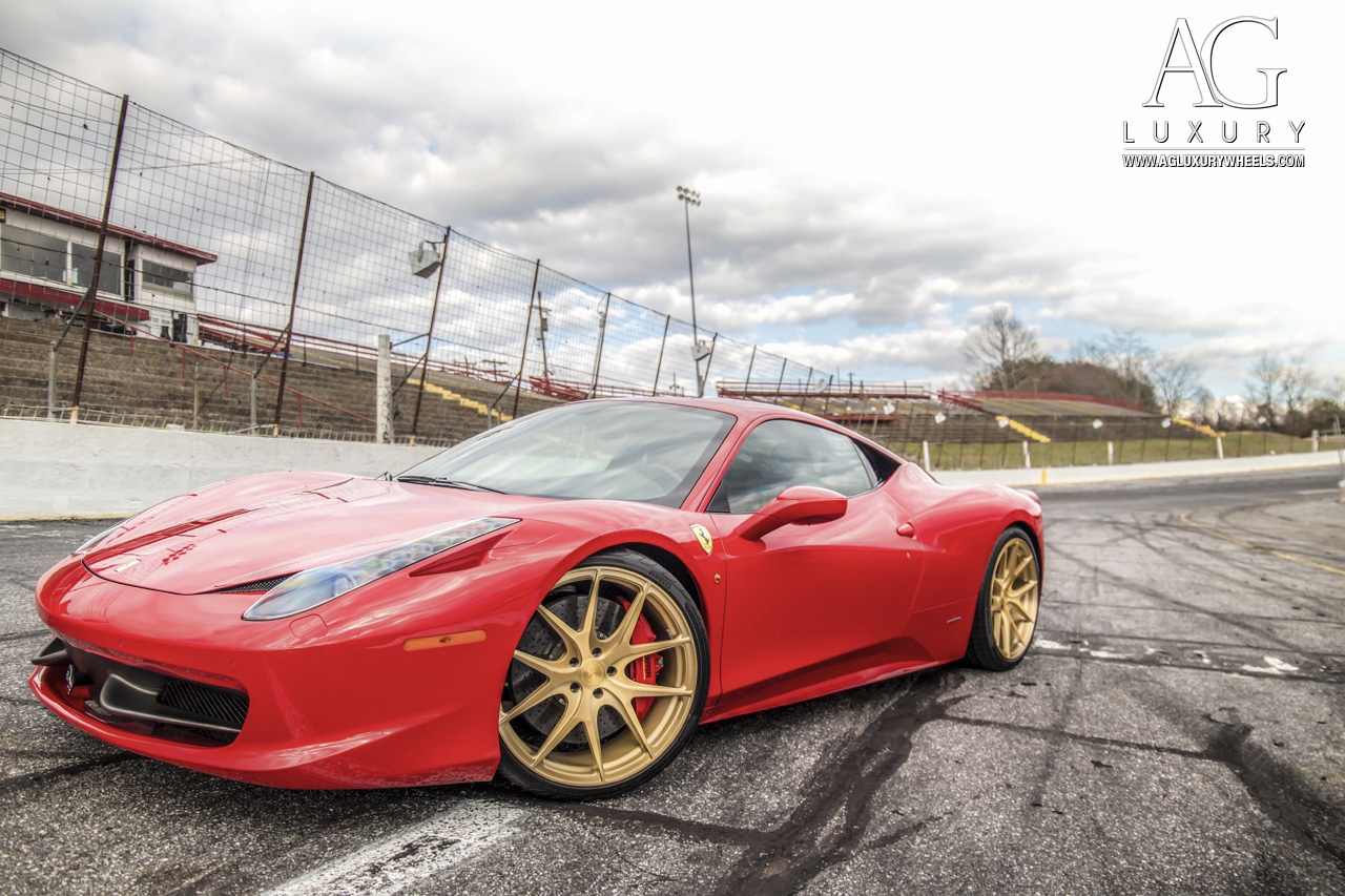 red ferrari 458 italia forged monoblock concave staggered wheels