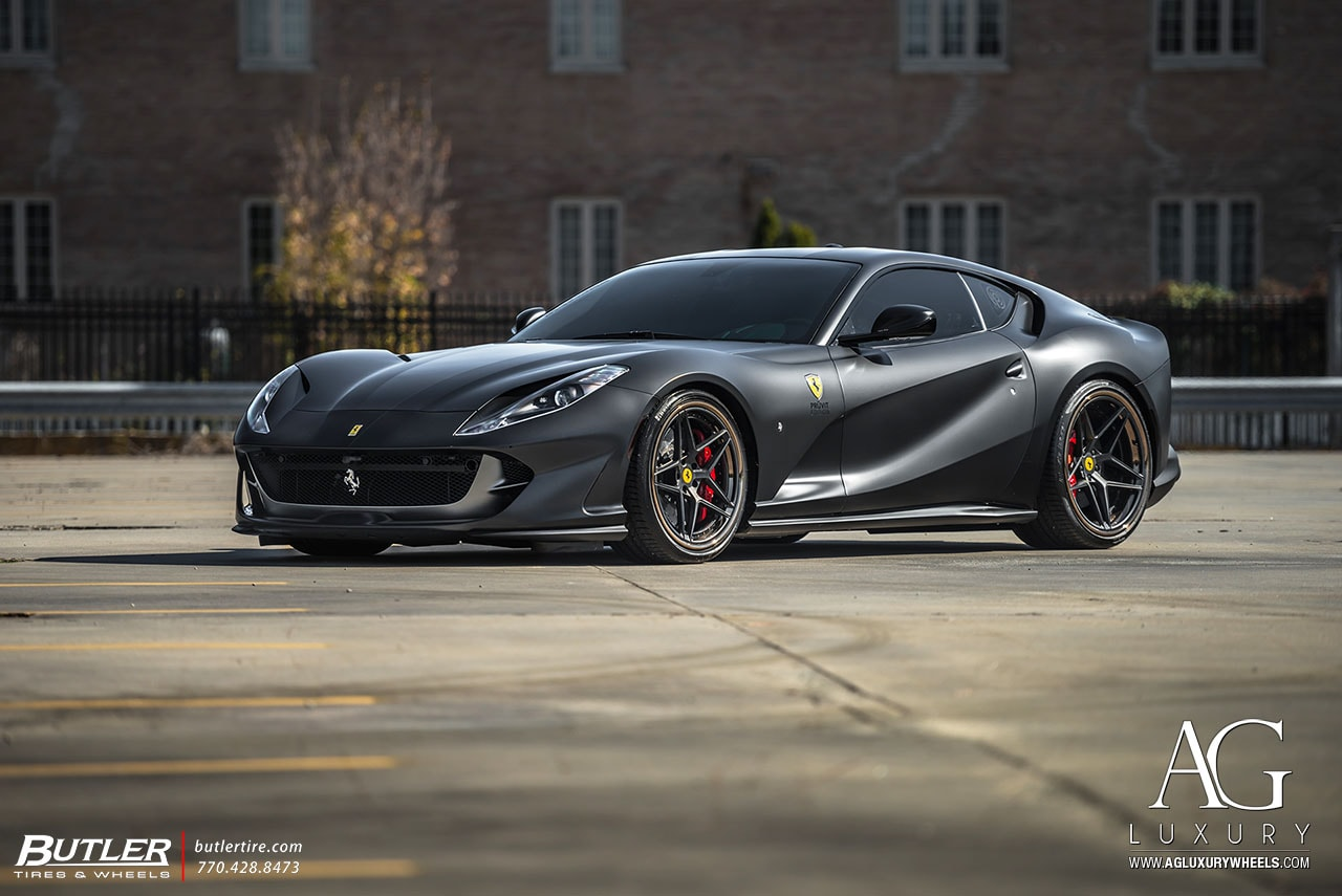 matte black ferrari 812 superfast agluxury wheels agl42 rims custom concave forged three piece 21in 21inch 22inch 22in split five spoke butler