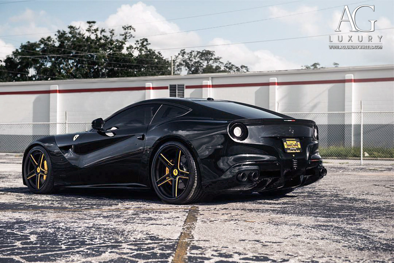 black ferrari f12 berlinetta forged concave staggered wheels two tone