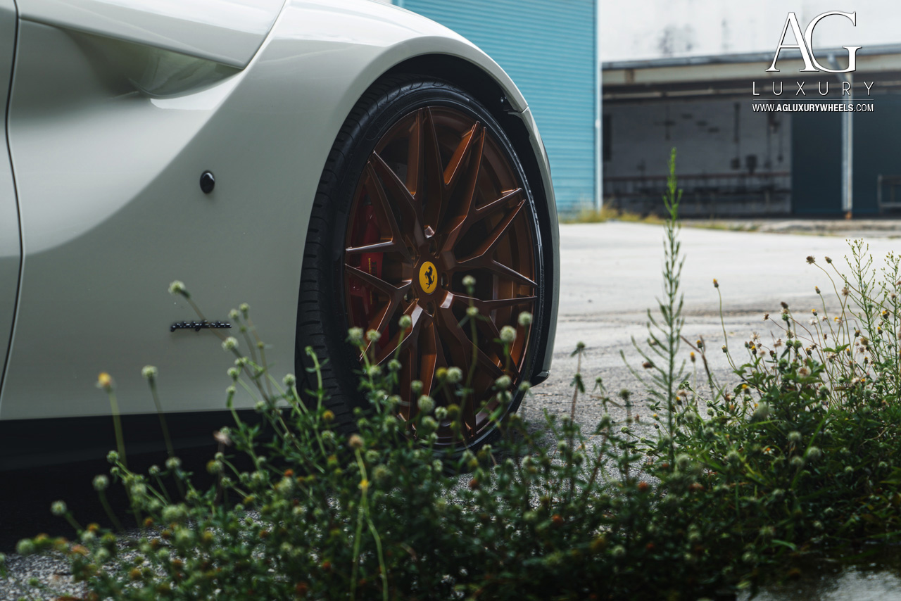 white ferrari f12 berlinetta forged concave staggered bronze wheels duo block