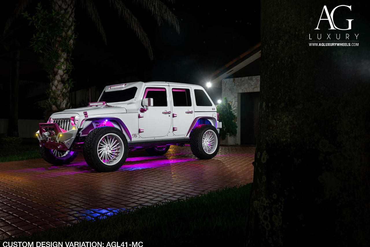 white jeep wrangler forged concave wheels two tone