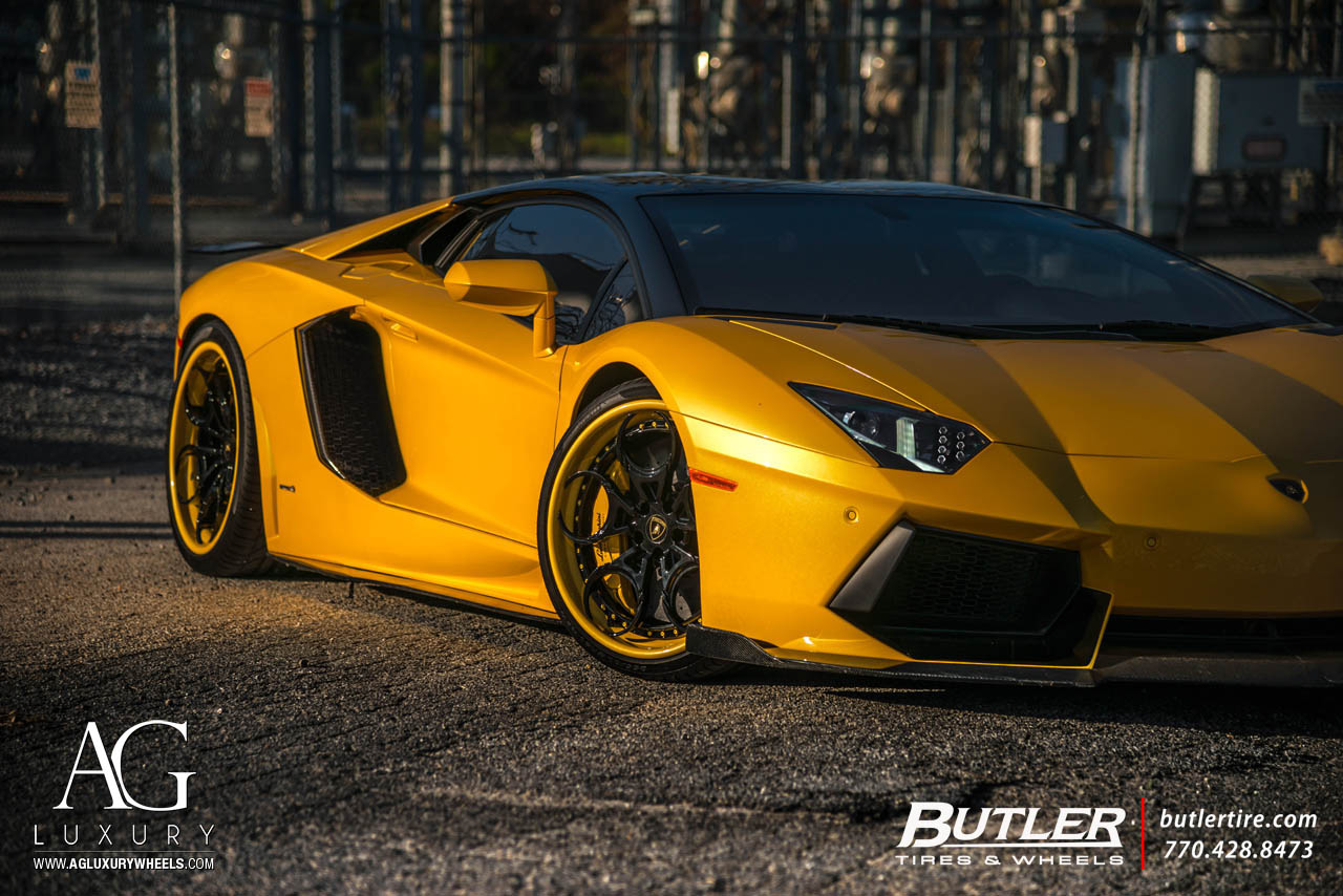 agluxury wheels agl46 spec3 gloss black yellow lip hardware custom bespoke rims stance lamobrghini aventador sv svj butler tire 20in 21in staggered rotiform vossen forgiato lp700-4