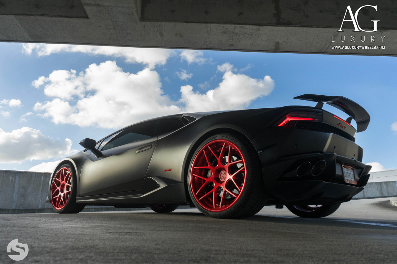 matte black lamborghini huracan forged concave staggered red wheels