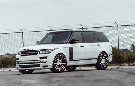 land rover range rover custom forged wheels agl14 monoblock gloss white black accents