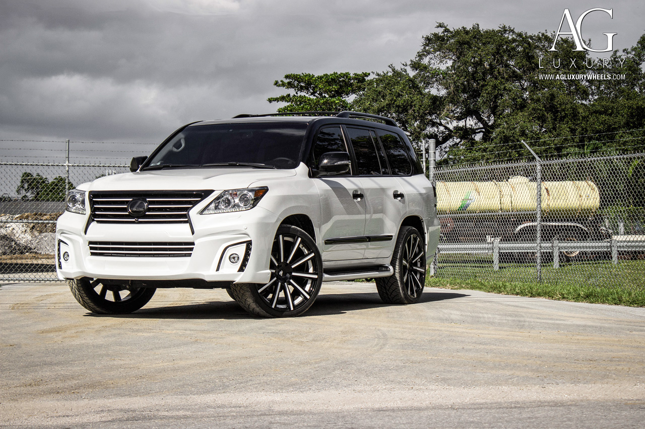 white lexus lx 570 forged monoblock concave wheels wald wide body two tone