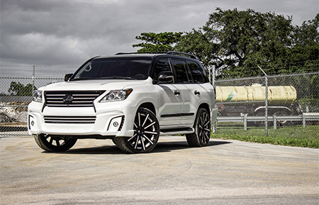 lexus lx570 lx wald wide body kit agl11 gloss black white accents custom forged wheels
