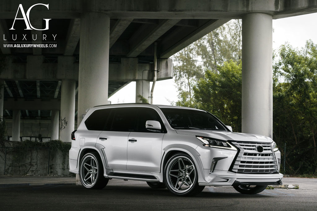 gloss black white accent lip lexus lx570 wald mccustom miami suv wheels concave agl42 spec3 wheels rims