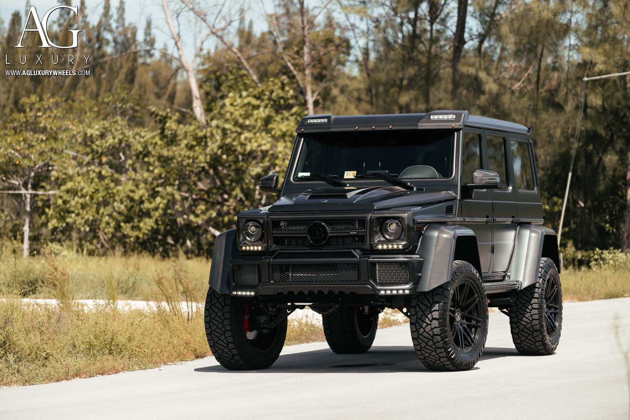 gloss black mercedes benz g500 4x4 g-wagen forged concave wheels monoblock amg g63 offroad mccustoms miami