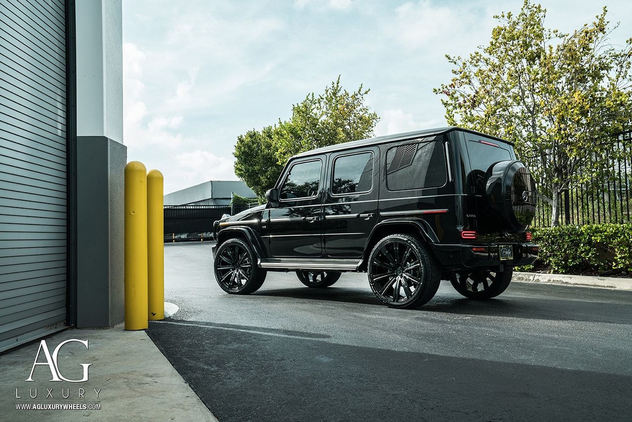 black mercedes-benz g550 2019 agluxury wheels aglvanguard vanguard 24in 24in custom monoblock flow form rotary forged concave miami 10 spoke SUV truck