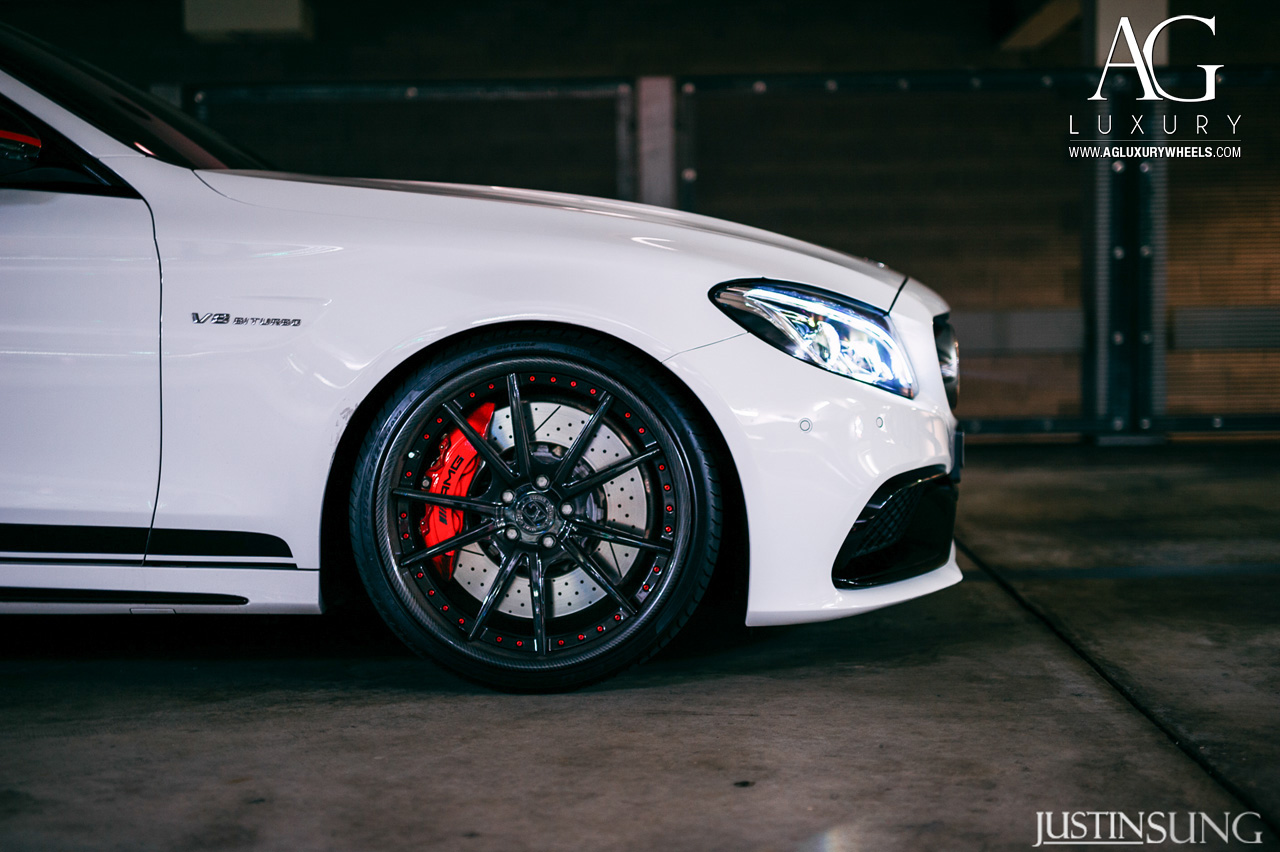 white mercedes benz c63 amg forged staggered concave black wheels w205 c class carbon fiber lip