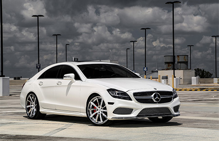 mercedes benz cls 500 cls amg custom forged wheels gloss white polished lip
