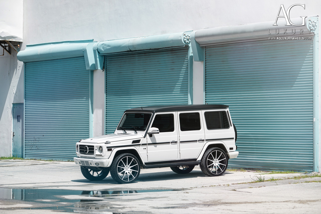 white mercedes benz g550 24 inch forged concave monoblock two tone wheels g wagon