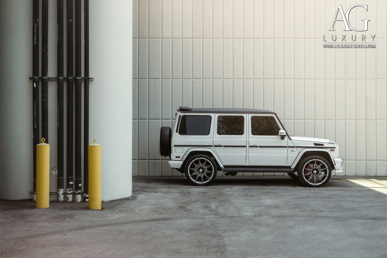 white mercedes benz g63 amg forged two tone concave wheels duo block g wagon