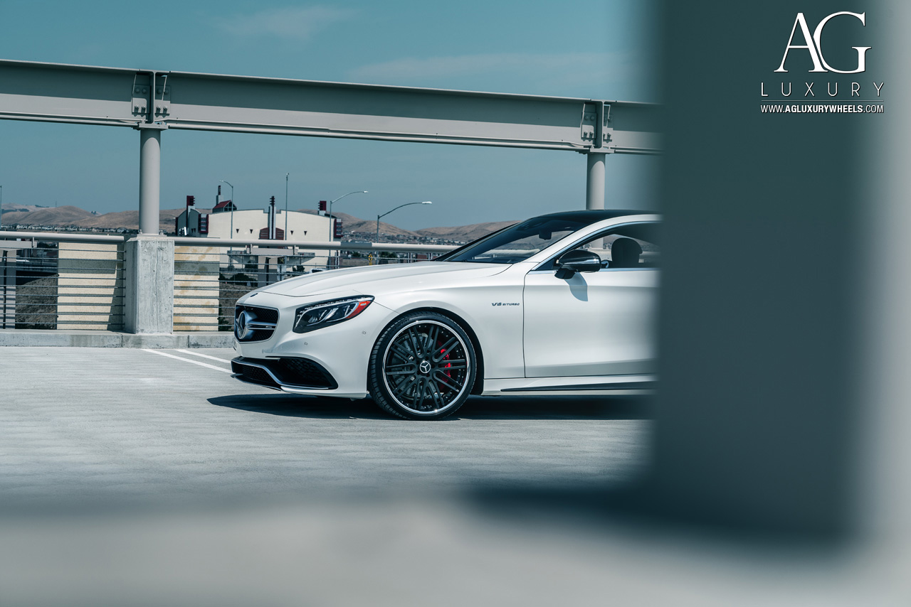 white mercedes benz s63 amg coupe forged concave staggered mesh black wheels w222 s class coupe