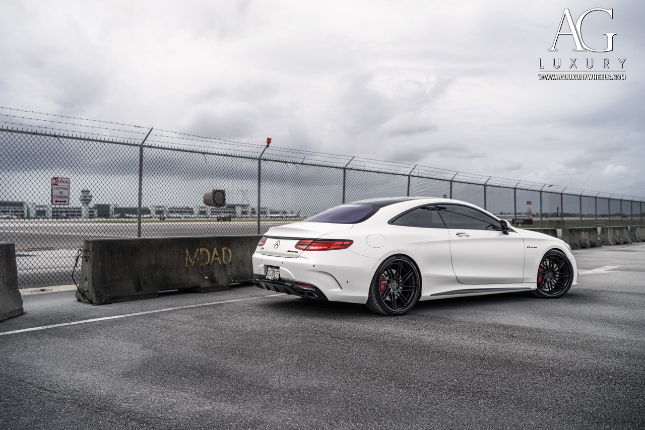 satin white mercedes benz s63 amg coupe forged concave directional staggered black wheels w222 s class
