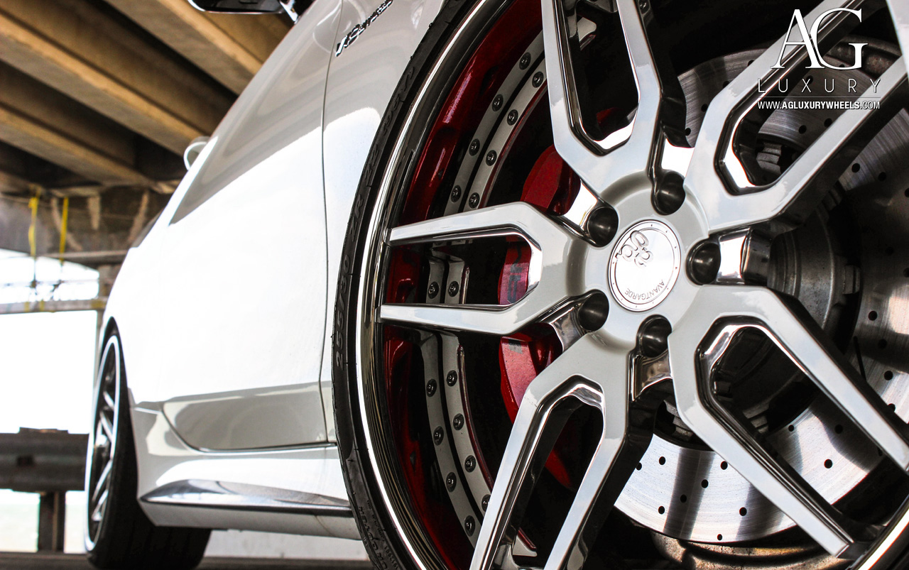 white mercedes benz s65 amg coupe forged concave staggered wheels brushed polished w222 s class