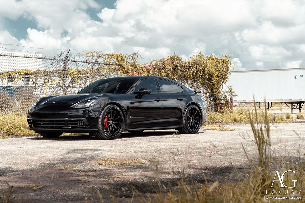 agluxury wheels ag luxury agwheels avant garde agl31 spec3 3piece machined for porsche panamera 4s gloss black face lip red hardware custom concave rims tires 22s 22inch 22 mccustoms miami mc customs