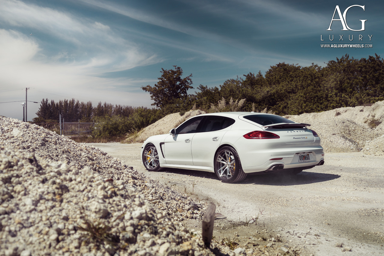 white porsche panamera turbo s forged concave staggered brushed polished wheels