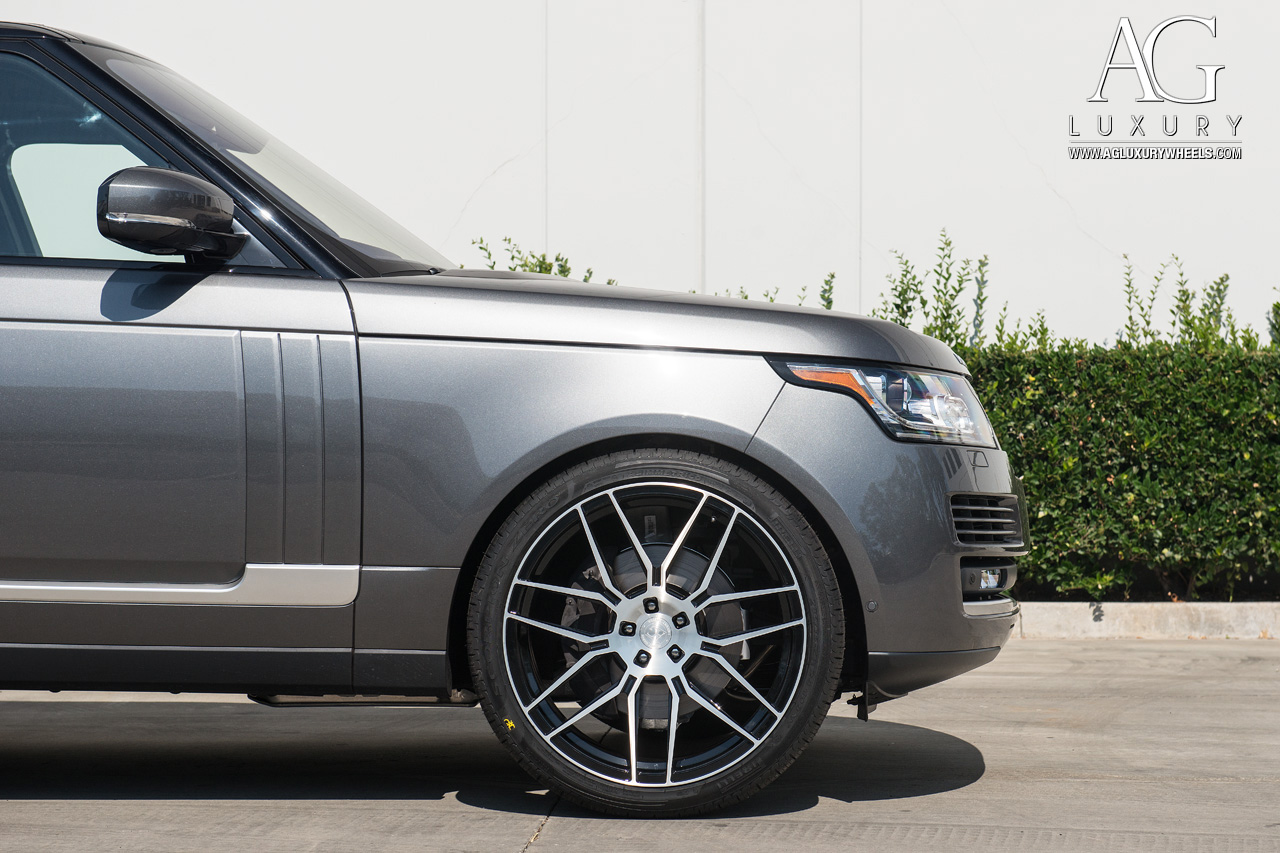gray range rover 24 inch forged concave monoblock two tone wheels