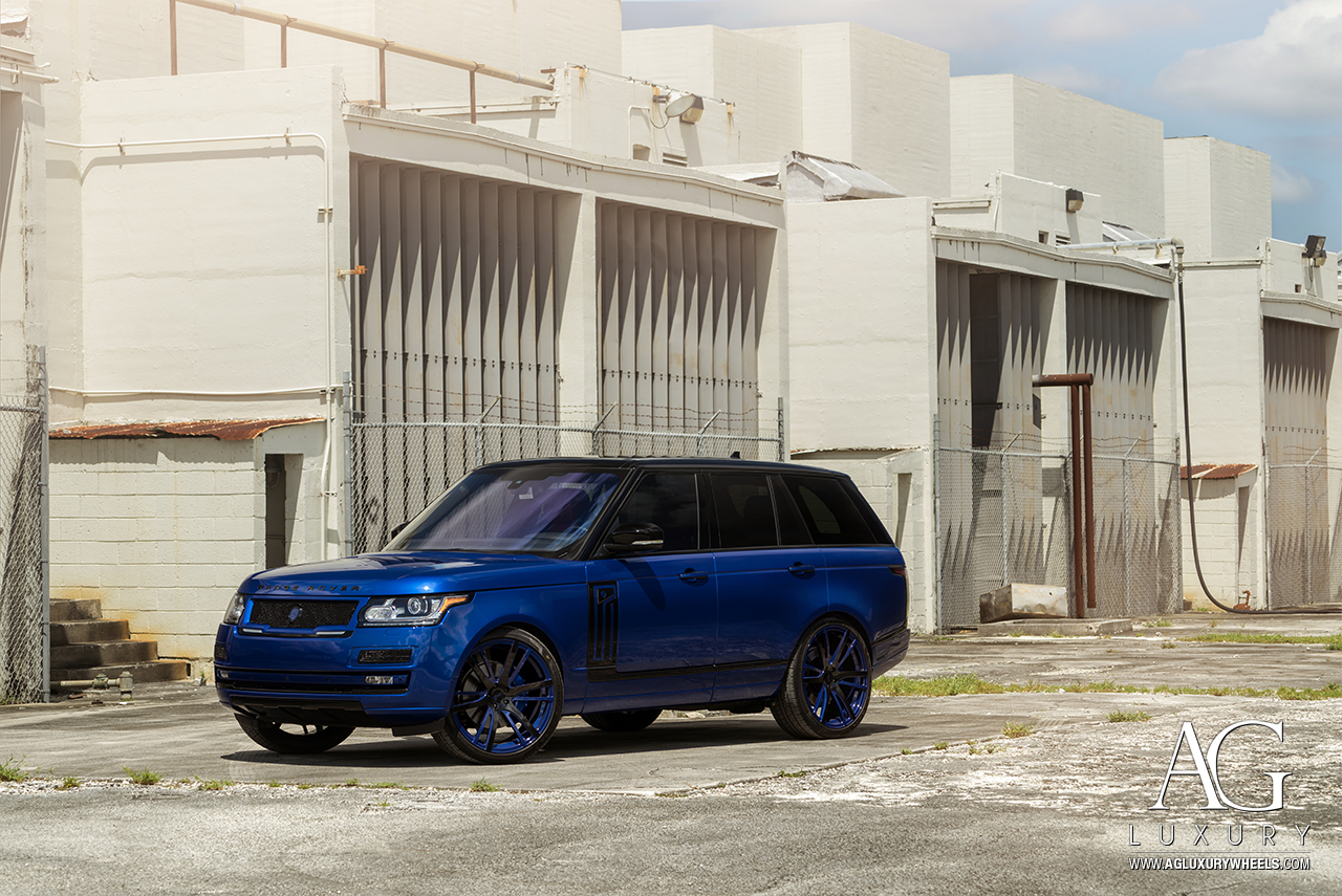 land rover rangerover range sport blue mccustoms erick aybar avant garde agwheels wheels wheel rim agluxury luxury agl18 monoblock five spoke split twist 24inch gloss black blue two tone