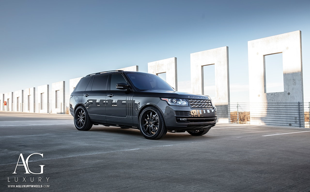 range rover hse gray agluxury wheels agl17 three piece forged concave custom colormatched rims gloss black 24in 24inch suv land luxury