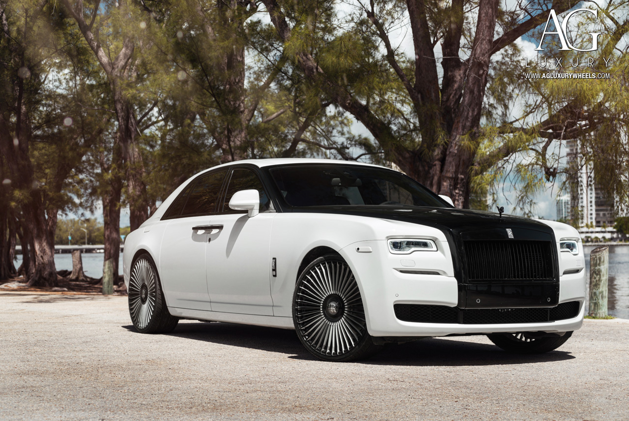 rolls royce wraith white and black. white two tone rolls royce wraith 24 inch forged monoblock concave spoke wheels and black
