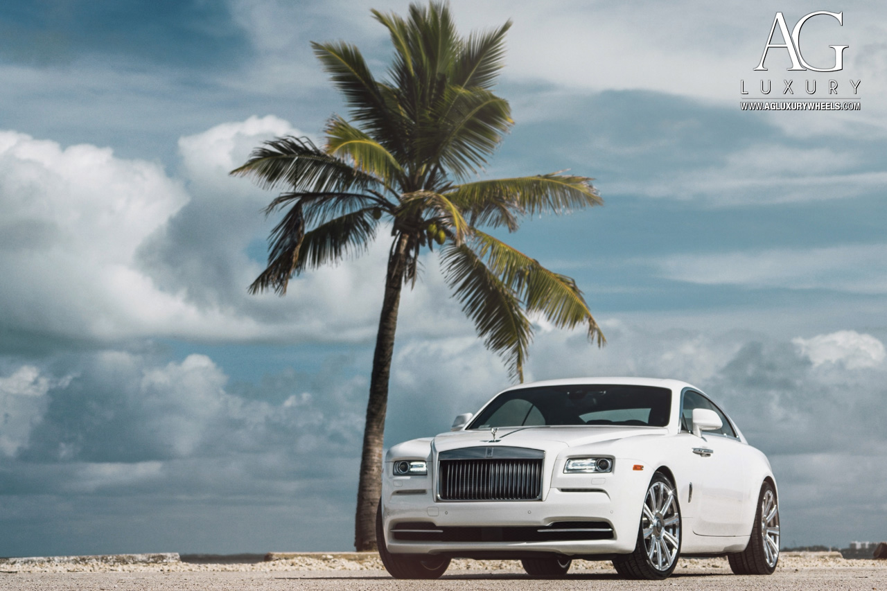 white rolls royce wraith 22 inch 22in forged monoblock concave staggered wheels brushed polished rims