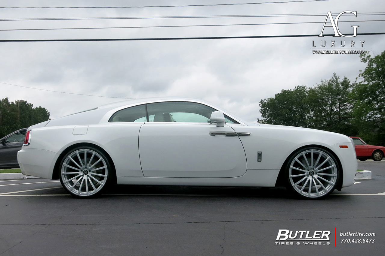 white rolls royce wraith 24 inch forged monoblock concave metallic silver wheels 15 spoke