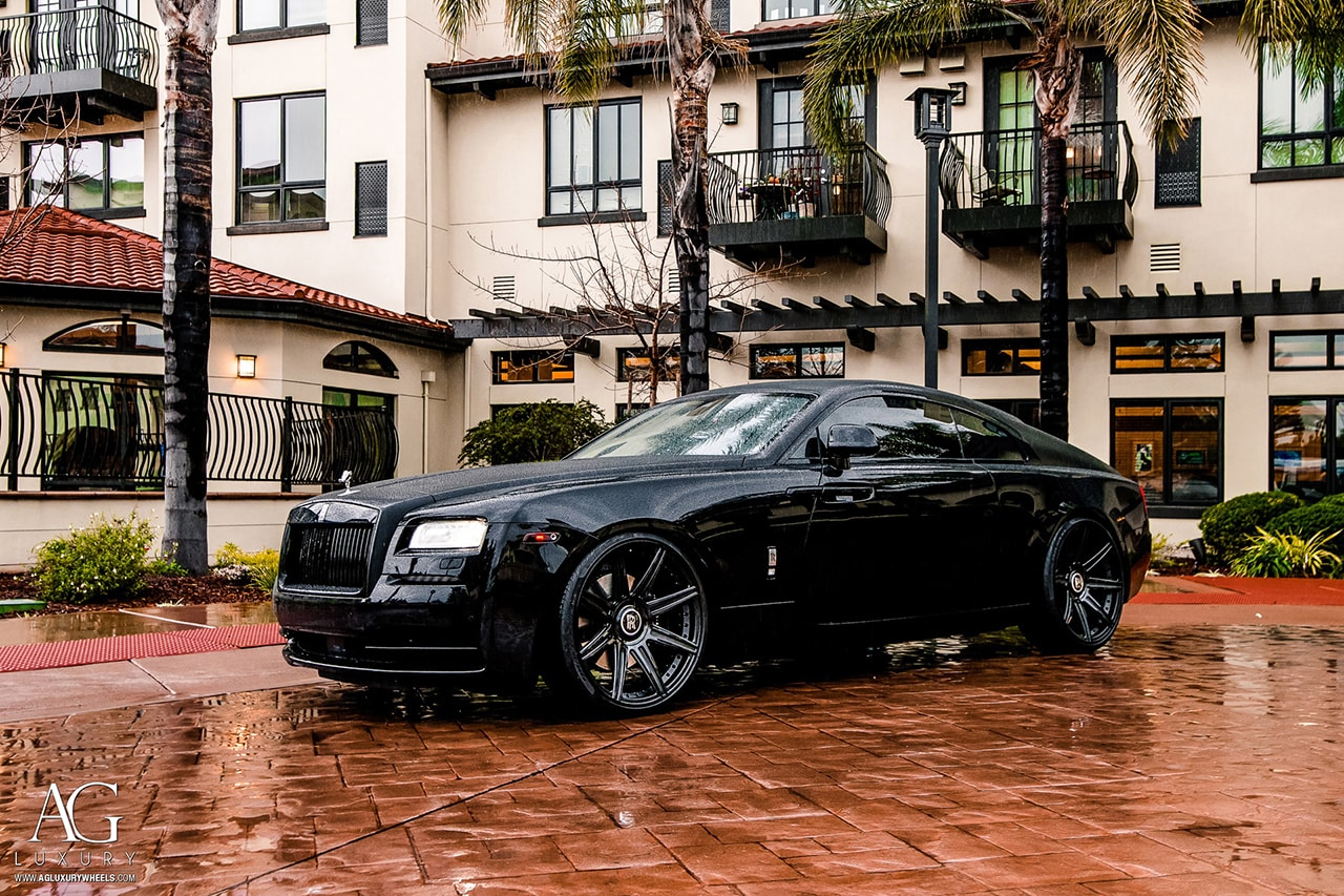 black rolls royce wraith blackout agluxury wheels agl22 8r 8 spoke custom concave duo block two piece forged two tone vellano adv.1 hre vossen rims 24in 24inch