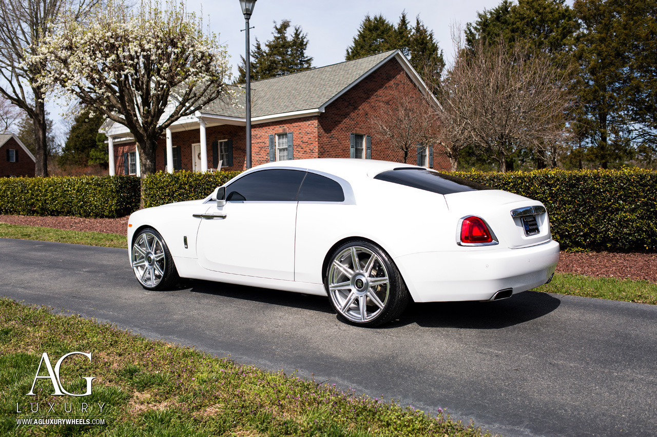 white rolls royce wraith 24 inch 24in forged concave staggered brushed polished wheels duo block 8 spoke rims
