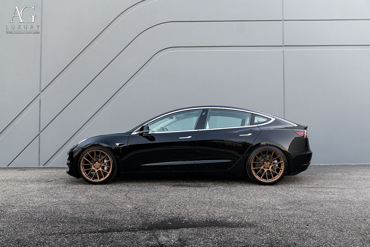 black tesla model 3 s x agluxury wheels agl vanquish 20in 20inch flow form rotary forged matte bronze xo rims concave custom monoblock