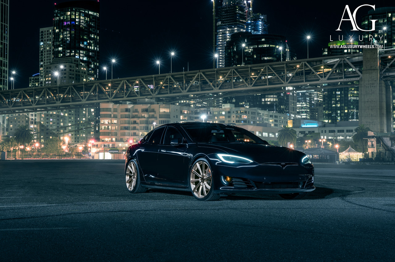 agluxury agl17 black tesla model s p90d 22 inch 22in forged monoblock concave directional two tone wheels