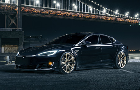 tesla model s p90 p90d custom forged monoblock wheels concave brushed champagne