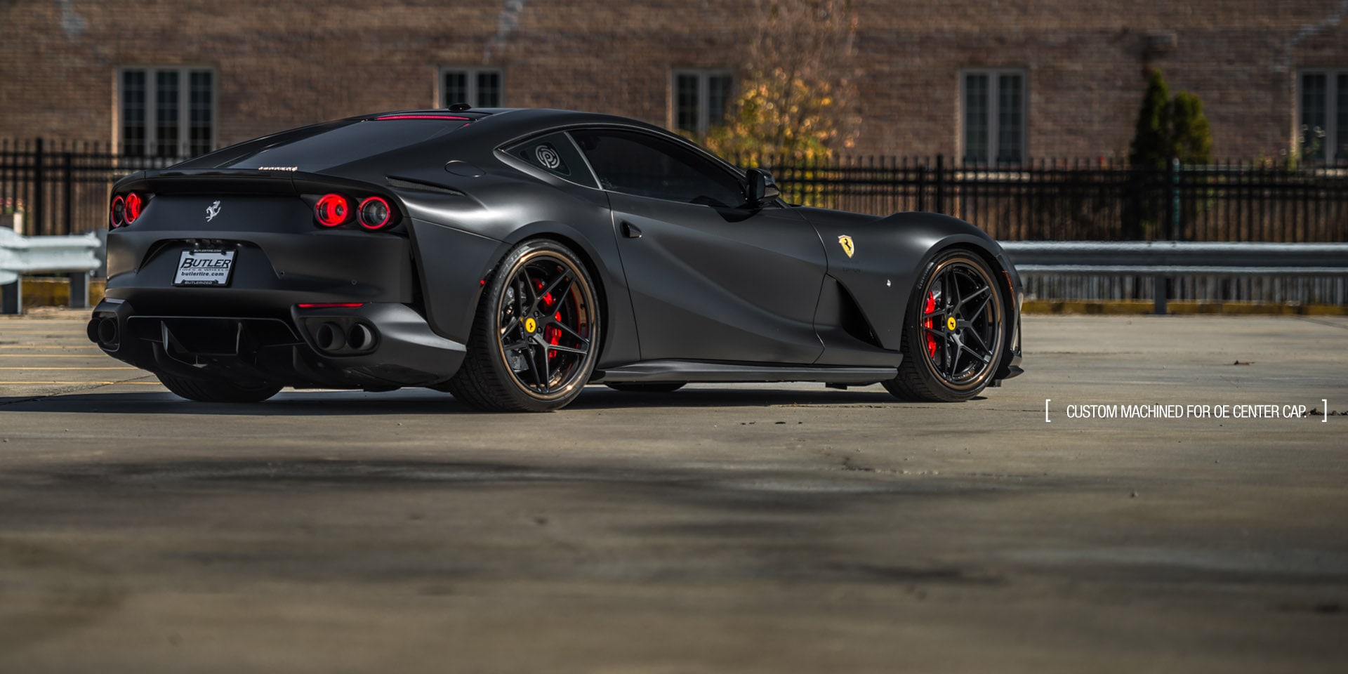 ferrari 812 superfast matte black wrapped agluxury wheels agl42 21in 21inch staggered matte black butler tire atlanta midnight wraps