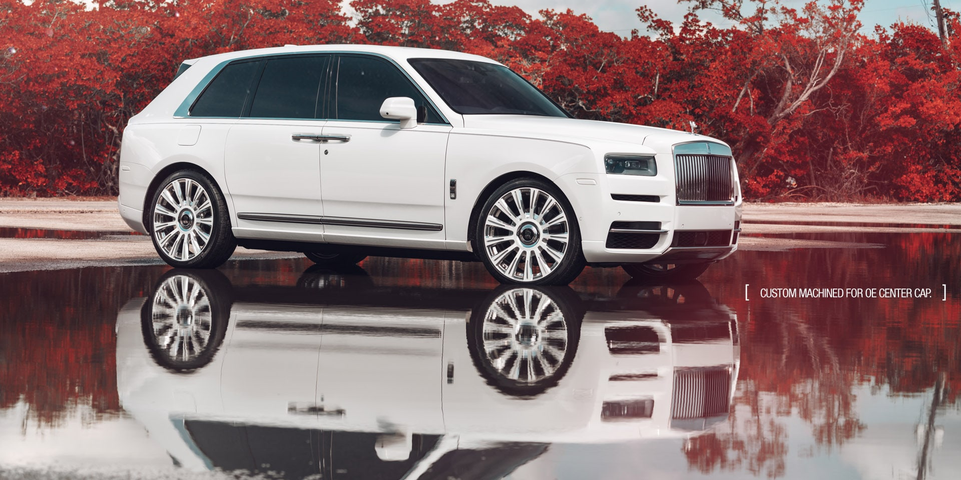 rolls-royce cullinan white suv agluxury wheels agl48-rr two tone white polished miami mccustoms 24in 24inch
