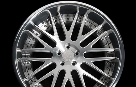 agl10 spec2 custom 3 piece forged wheels brushed polished flat reverse lip