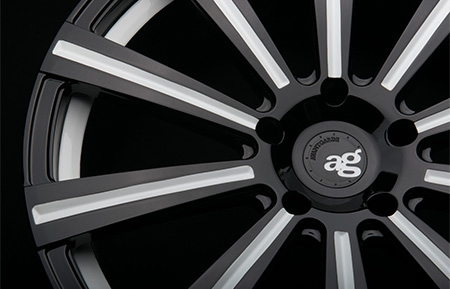 agl11 monoblock custom forged wheels gloss black white accents
