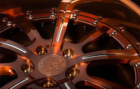 agl17 3 piece custom forged wheels brushed cognac polished accents