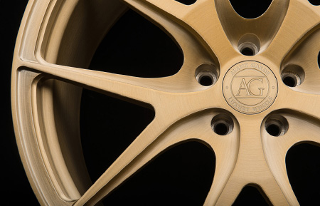 agl23 monoblock concave forged wheels brushed gold