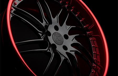 agl28 directional forged wheels gloss black brushed candy apple red