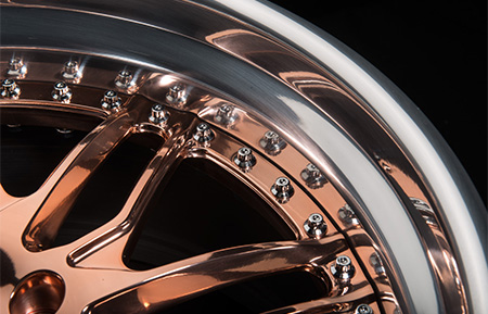 agl28 polished rose gold forged directional wheels